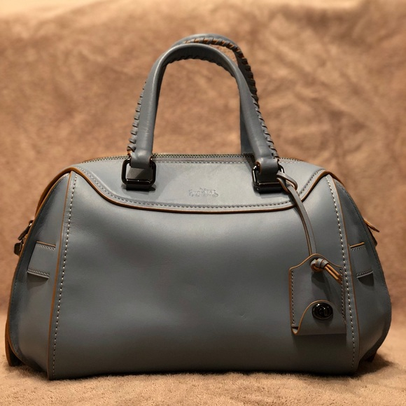 "ddb628bfc045 Coach Handbags - Authentic Sky Blue Leather Coach ""Ace"" Satchel"